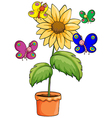 A pot with a flowering plant and colourful vector