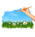 Nature background with hand holding a brush vector