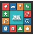 Navigation icons set squared shadows vector