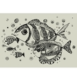 Black and white of fish vector