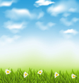 Spring natural background with blue sky clouds vector