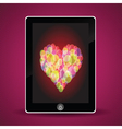 Tablet computer and heart vector