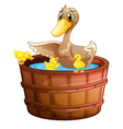 A duck and her ducklings at the bathtub vector