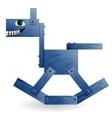 Blue wooden horse vector