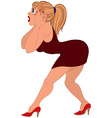 Cartoon woman in red dress scared vector