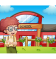 A boy with a school building at his back vector