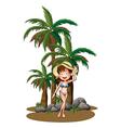 A beautiful girl near the palm trees vector