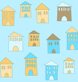 Flat cute houses in vintage style vector