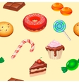 Seamless pattern colorful candy sweets and cakes vector