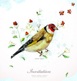 Watercolor painting cute bird with flowers vector