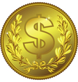 Gold money dollar coin vector