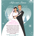 Young couple on the winter background vector