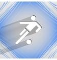 Football player flat modern web button on a flat vector