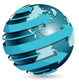 Globe with blue arrow vector