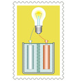 Battery and lamp on stamp vector