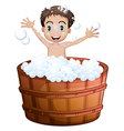 A happy boy taking a bath vector