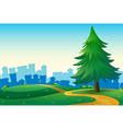 Hills with a big pine tree near the tall buildings vector