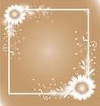White flowers frame vector