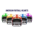 Set of realistic american football helmet front vector