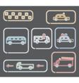 Neon transportation symbols vector
