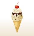 Vanilla ice cream cone vector