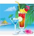 Cocktails on the beach vector