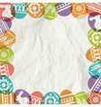 Paper background with frame of colour easter eggs vector