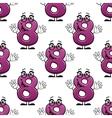 Cute happy waving number 8 seamless pattern vector