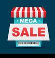 Mega sale shop banner design with barcode vector