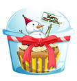 A disposable cup with a cupcake and a snowman vector