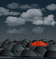 Red umbrella over many dark ones vector