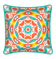 Decorative throw pillow with patterned pillowcase vector