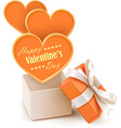 Gift box with big hearts vector