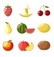 Flat design icons fresh fruit apple cherry vector