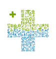Cross shape with medical icons for your design vector