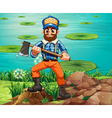 A lumberjack holding an axe at the riverbank vector