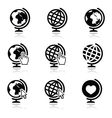Globe earth icons with cursor hand and arro vector