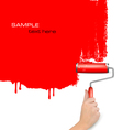 Red background with hand and copy spase vector