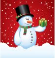 Snowman with a gift vector