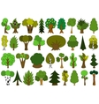 Cute doodle trees tree doodles set isolated on vector