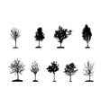 Set of tree silhouette isolated on white vector