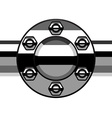 Chrome termination flange pipe vector
