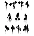 Shopping family and girls silhouettes vector