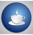 Round blue coffee cup button with paper cut image vector