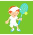Boy with badminton racquet vector