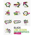 Set of minimal line design office web infographics vector