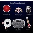 Set of crossfit sport equipment vector