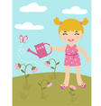 Gardening little girl vector