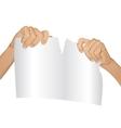 Man hands tear paper version 1 vector