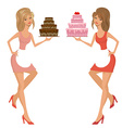 Beautiful young woman with cake vector